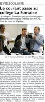 La FCPE fait don de générateurs au Collège La Fontaine